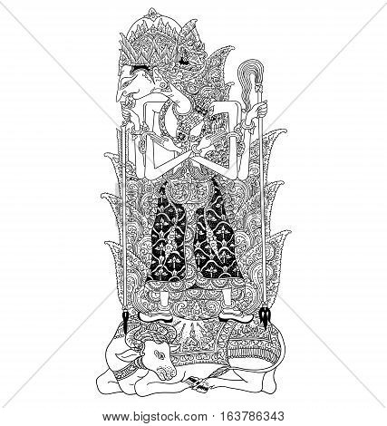Batara Guru, a character of traditional puppet show, wayang kulit from java indonesia.