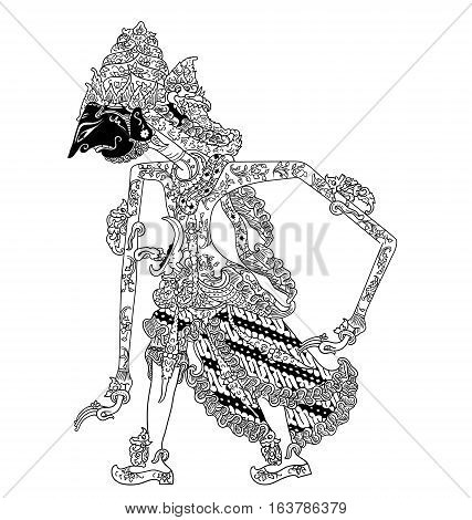 Batara Kuwera, a character of traditional puppet show, wayang kulit from java indonesia.