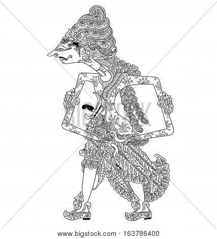 Sang Hyang Mahadewa, a character of traditional puppet show, wayang kulit from java indonesia.