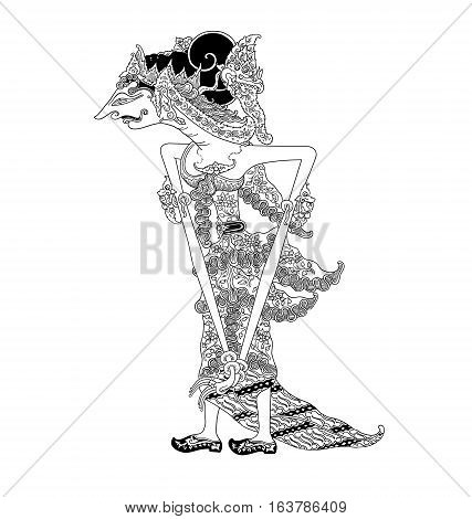 Dewi Nagagini, a character of traditional puppet show, wayang kulit from java indonesia.