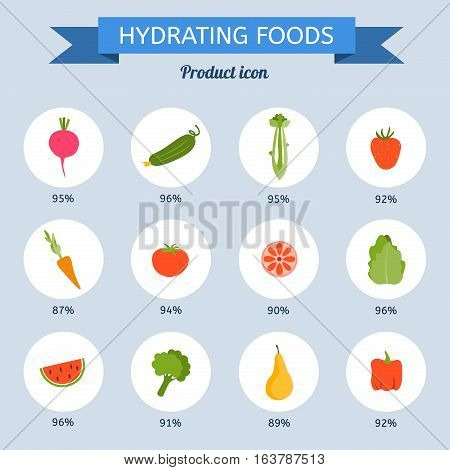Hydrating food set. Product icon set. Vector