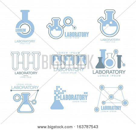 Chemical Laboratory Facility Logo Graphic Design Templates Set In Light Blue Color With Test Tubes Silhouettes. Collection Of Schematic Chemistry Lab Labels With Text.