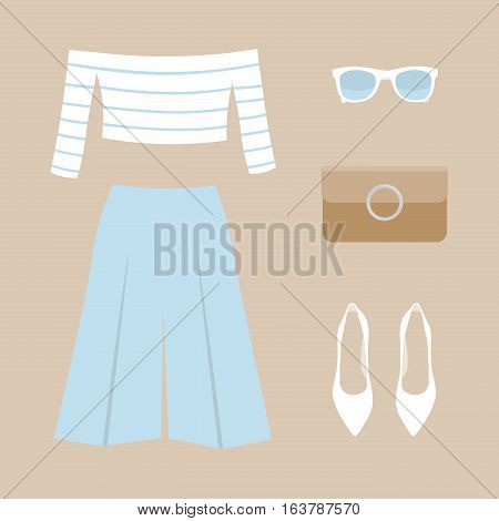 A collection of fashionable summer women's clothing: short top with stripes, blue pants, white shoes, sunglasses and a clutch