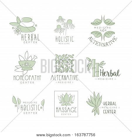 Alternative Medicine Center With Oriental Herbal Treatment And Holistic Massage Procedures Collection Of Label Templates. Monochrome Vector Logo Designs For Natural Medical Care Studio.