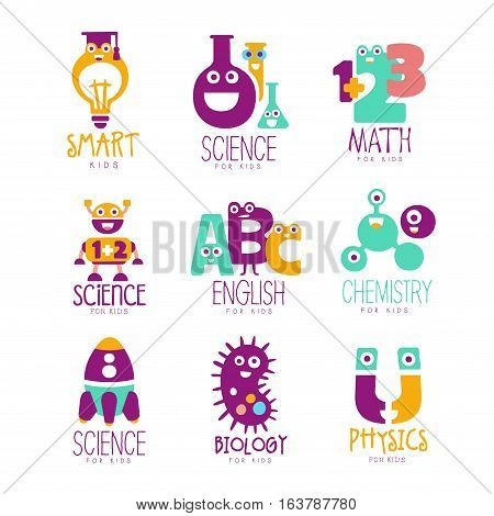 Kids Science Education Extra Curriculum Club Logo Templates In Colorful Cartoon Style With Smiling Characters. Set Of Vector Prints With Study And School Classes Symbols For Children.