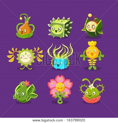 Childish Alien Fantastic Alive Plants Emoji Characters Set Of Vector Fantasy Vegetation. Fantasy Creatures With Friendly Faces Bright Color Cartoon Illustrations.