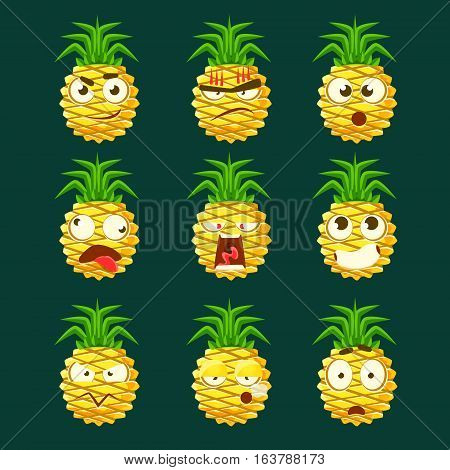 Pineapple Cartoon Emoji Portraits With Different Emotional Facial Expression Collection Of Cartoon Stickers. Vector Emoticons With Bright Color Fruit Character And Its Emotions.