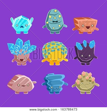 Alien Fantastic Golem Characters Of Different Humanized Rocks With Friendly Faces Emoji Stickers Collection. Emoticons With Fantastic Creatures From Another Planet Cartoon Vector Illustrations.