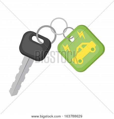 Key from eco car icon in cartoon design isolated on white background. Bio and ecology symbol stock vector illustration.