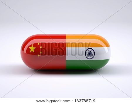 Pill With The Chinese And Indian Flag Wrapped Around It
