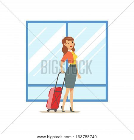 Woman Arriving With Big Suitcase, Part Of Airport And Air Travel Related Scenes Series Of Vector Illustrations. Smiling Cartoon Character In The Airport Building Travelling By Plane.