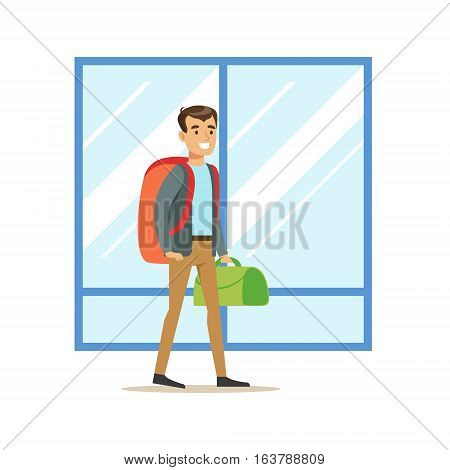 Guy Arriving WIth Big Backpack And Handbag, Part Of Airport And Air Travel Related Scenes Series Of Vector Illustrations. Smiling Cartoon Character In The Airport Building Travelling By Plane.