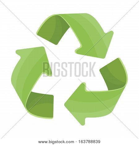 Green recycling sign icon in cartoon design isolated on white background. Bio and ecology symbol stock vector illustration.
