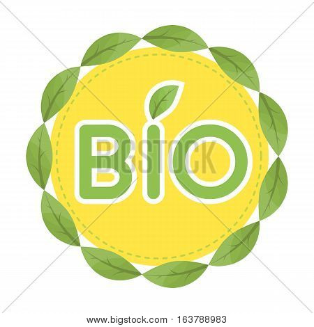 Bio label icon in cartoon design isolated on white background. Bio and ecology symbol stock vector illustration.
