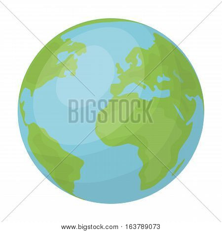 Earth icon in cartoon design isolated on white background. Bio and ecology symbol stock vector illustration.