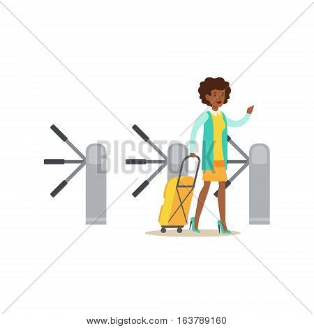 Woman Passing Turnstile With Suitcase, Part Of Airport And Air Travel Related Scenes Series Of Vector Illustrations. Smiling Cartoon Character In The Airport Building Travelling By Plane.