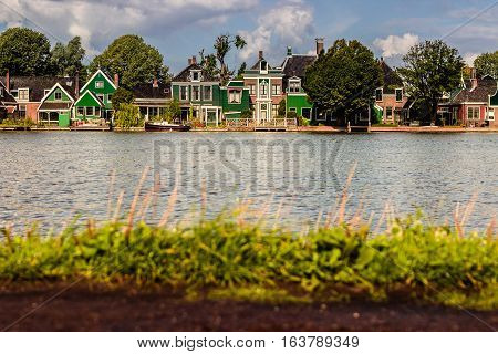 Row Of Old Traditional Dutch  Houses In Zaanse Schans In Netherlands