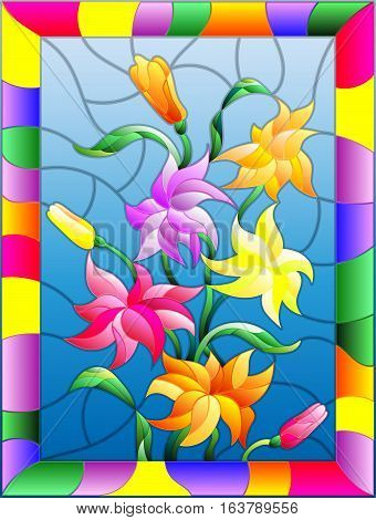 Illustration in stained glass style with flowers buds and leaves of Lily