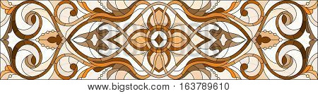 Illustration in stained glass style with abstract swirls and leaves on a light background horizontal orientation sepia