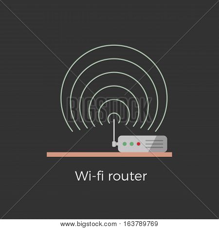 Wi-fi router standing on table flat design icon concept. Isolated on black background. Close-up illustration with signal waves.