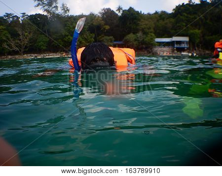 seen someone who was snorkeling in the sea