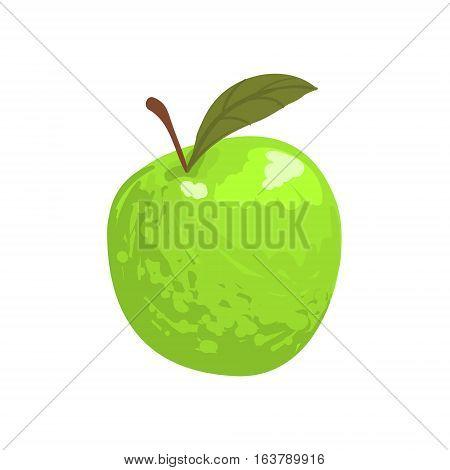 Green Garden Apple Funky Hand Drawn Fresh Fruit Cartoon Illustration. Radiant Glossy Summer Fruit, Heathy Diet Food Item Vector Object.