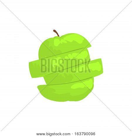 Green Sliced Apple Funky Hand Drawn Fresh Fruit Cartoon Illustration. Radiant Glossy Summer Fruit, Heathy Diet Food Item Vector Object.