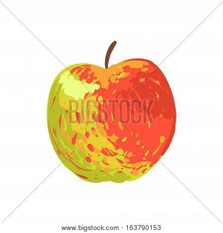 Multicolor Apple Funky Hand Drawn Fresh Fruit Cartoon Illustration. Radiant Glossy Summer Fruit, Heathy Diet Food Item Vector Object.
