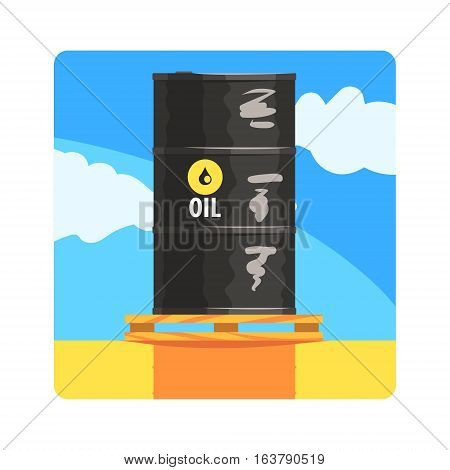 Oil Barrel Famous Touristic Attraction Of United Arab Emirates. Traditional Tourism Symbol Of Arabic Country. Colorful Vector Illustration With Travelling Destination Well-Known Object.