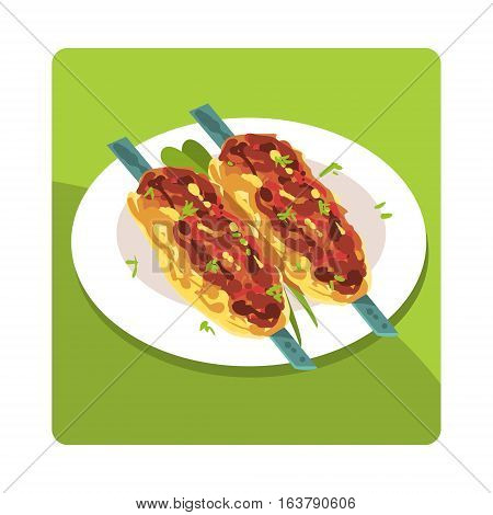 Kebab Famous Touristic Attraction Of United Arab Emirates. Traditional Tourism Symbol Of Arabic Country. Colorful Vector Illustration With Travelling Destination Well-Known Object.