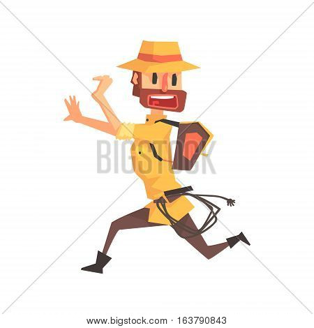 Adventurer Archeologist In Safari Outfit And Hat Running Away Illustration From Funny Archeology Scientist Series. Cartoon Male Indiana Jones Style Tombraider Character Vector Drawing.