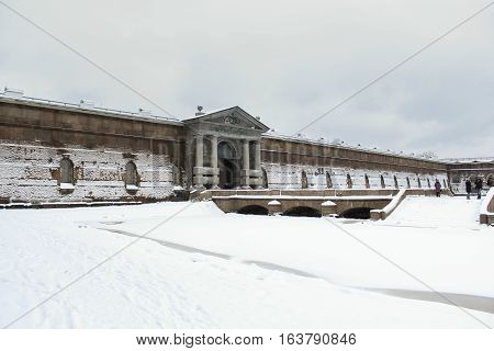 St. Petersburg, Russia - 2 December, Neva Curtin Petro Paul Fortress, 2 December, 2016. Land and building the Peter-Paul fortress.