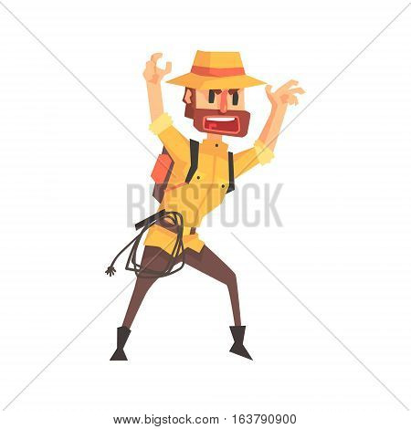 Adventurer Archeologist In Safari Outfit And Hat Intimidating Somebody Illustration From Funny Archeology Scientist Series. Cartoon Male Indiana Jones Style Tombraider Character Vector Drawing.