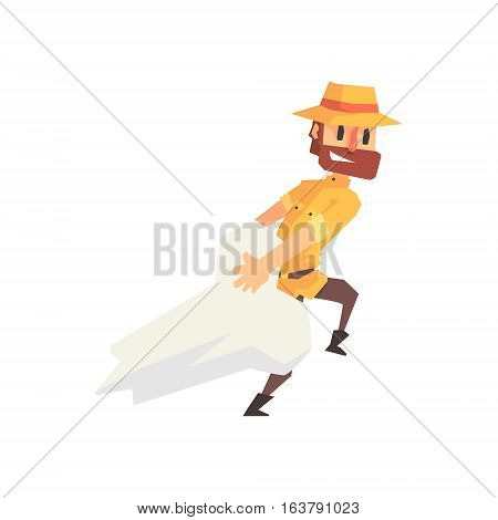 Adventurer Archeologist In Safari Outfit And Hat Dragging Giant Dinosaur Bone Illustration From Funny Archeology Scientist Series. Cartoon Male Indiana Jones Style Tombraider Character Vector Drawing.