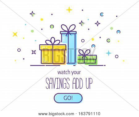 Website header vector template with gift boxes. Cute illustration of gift box present, greeting, surprise.