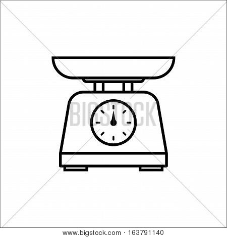 kitchen scale with bowl Kitchen appliances or measuring tool isolated on white background. Vector illustration