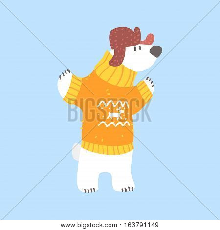 Polar White Bear In Sweater And Cap With Ear Flaps, Arctic Animal Dressed In Winter Human Clothes Cartoon Character. Cold Region Fauna And Warm Clothing Funky Vector Illustration.