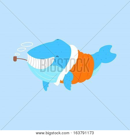 Blue Whale Smoking Pipe In Padded Coat, Arctic Animal Dressed In Winter Human Clothes Cartoon Character. Cold Region Fauna And Warm Clothing Funky Vector Illustration.