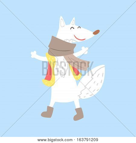 Polar White Fox In Vest And Scarf, Arctic Animal Dressed In Winter Human Clothes Cartoon Character. Cold Region Fauna And Warm Clothing Funky Vector Illustration.