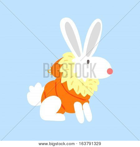 White Polar Rabbit In Padded Coat, Arctic Animal Dressed In Winter Human Clothes Cartoon Character. Cold Region Fauna And Warm Clothing Funky Vector Illustration.