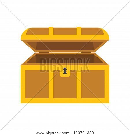 Wooden empty chest with open cover isolated on the white background vector illustration