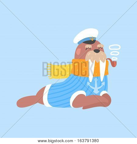 Walrus Smoking Pipe In Captain Outfit, Arctic Animal Dressed In Winter Human Clothes Cartoon Character. Cold Region Fauna And Warm Clothing Funky Vector Illustration.