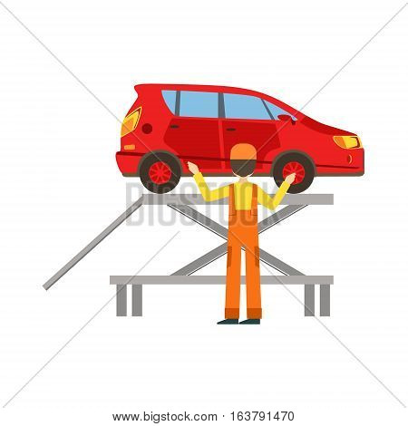 Smiling Mechanic Checking The Vehicle In The Garage, Car Repair Workshop Service Illustration. Cartoon MAle Character In Dungarees Working In Auto Repair Shop.