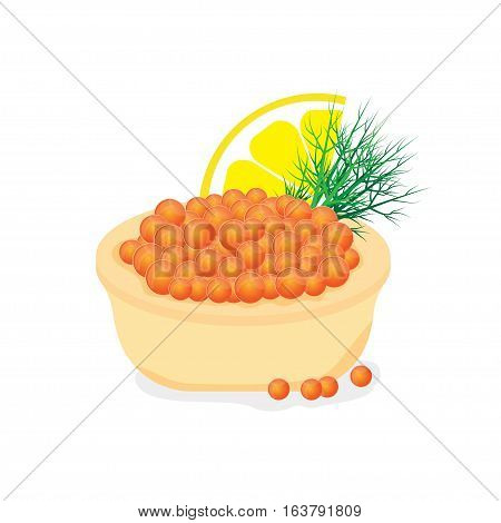 Red caviar in a tartlet appetizer for buffet. Vector illustration isolated on white background.