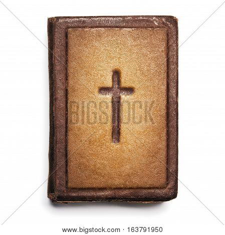 Old Bible Cover Vintage Leather Front Book Texture with Cross Isolated over White