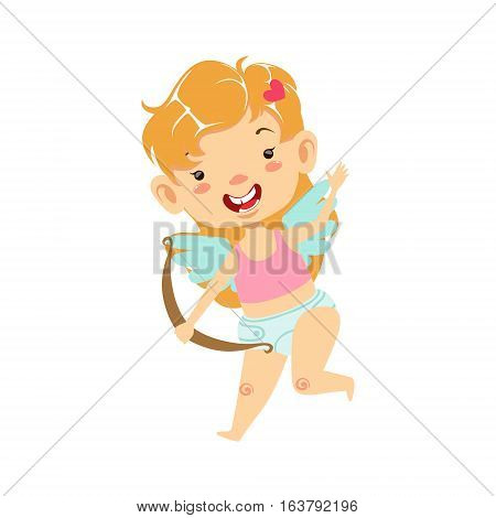 Girl Baby Cupid With Bow, Winged Toddler In Diaper Adorable Love Symbol Cartoon Character. Happy Infant Cupid Saint Valentines Day Flat Vector Illustration.