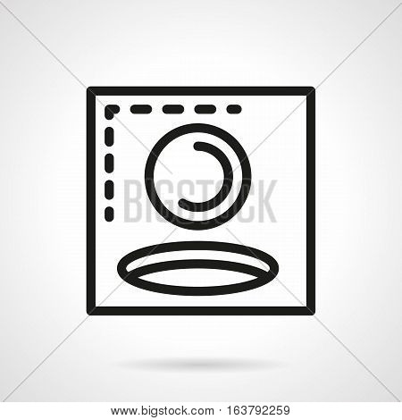 Symbol of ball going to hole. Golf game and golfing score sign. Active leisure, sport tournament concept. Black simple line vector icon.