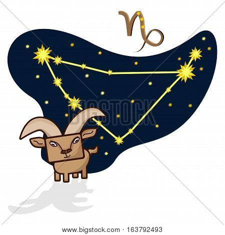 Cartoon Zodiac signs. Vector illustration of the Capricornus with a rectangular face. A schematic arrangement of stars in the constellation Capricornus