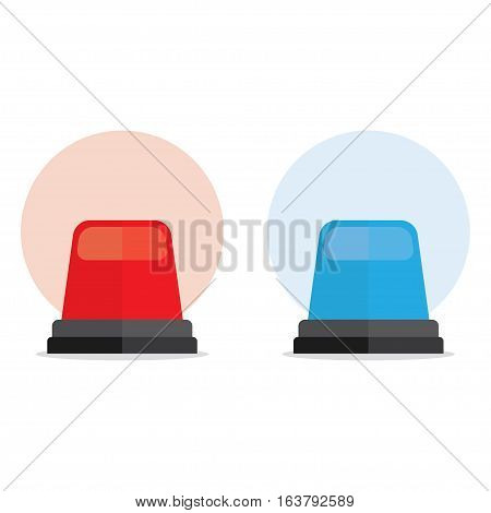 Red and blue emergency lights an ambulance or the police. Sirens car emergency care or emergency situations. Vector illustration