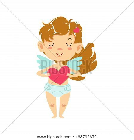 Girl Baby Cupid Holding A Heart, Winged Toddler In Diaper Adorable Love Symbol Cartoon Character. Happy Infant Cupid Saint Valentines Day Flat Vector Illustration.